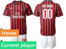 Mens 19-20 Soccer Ac Milan Club Current Player Red And Black Stripe Home Short Sleeve Suit Jersey