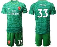 Mens 19-20 Soccer Arsenal Club #33 Cech Green Goalkeeper Short Sleeve Suit Jersey