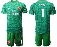 Mens 19-20 Soccer Arsenal Club #1 Leno Green Goalkeeper Short Sleeve Suit Jersey