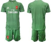 Mens 19-20 Soccer Arsenal Club Blank Army Green Goalkeeper Short Sleeve Suit Jersey