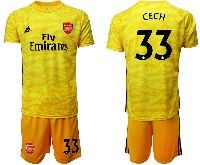 Mens 19-20 Soccer Arsenal Club #33 Cech Yellow Goalkeeper Short Sleeve Suit Jersey