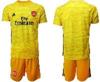 Mens 19-20 Soccer Arsenal Club Blank Yellow Goalkeeper Short Sleeve Suit Jersey