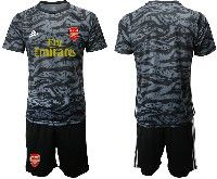 Mens 19-20 Soccer Arsenal Club Blank Black Goalkeeper Short Sleeve Suit Jersey