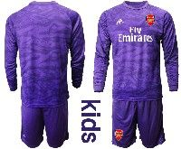 Kids 19-20 Soccer Arsenal Club Blank Purple Goalkeeper Long Sleeve Suit Jersey