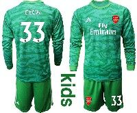 Kids 19-20 Soccer Arsenal Club #33 Cech Green Goalkeeper Long Sleeve Suit Jersey