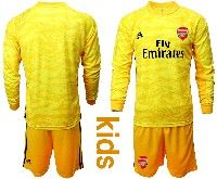 Kids 19-20 Soccer Arsenal Club Blank Black Goalkeeper Long Sleeve Suit Jersey