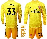 Kids 19-20 Soccer Arsenal Club #33 Cech Black Goalkeeper Long Sleeve Suit Jersey
