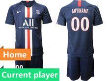 Mens 19-20 Soccer Paris Saint Germain Current Player Dark Blue Home Short Sleeve Suit Jersey