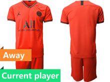 Mens 19-20 Soccer Paris Saint Germain Current Player Red Away Short Sleeve Suit Jersey