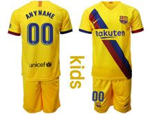 Kids 19-20 Soccer Barcelona Club ( Custom Made ) Yellow Away Short Sleeve Suit Jersey