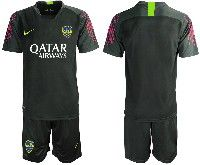 Mens 19-20 Soccer Atletico Boca Juniors ( Custom Made ) Black Goalkeeper Short Sleeve Suit Jersey