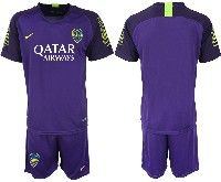 Mens 19-20 Soccer Atletico Boca Juniors ( Custom Made ) Purple Goalkeeper Short Sleeve Suit Jersey