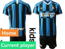 Kids 19-20 Soccer Inter Milan Club Current Player Blue And Black Stripe Home Short Sleeve Suit Jersey