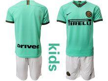 Kids 19-20 Soccer Inter Milan Club ( Custom Made ) Green Stripe Away Short Sleeve Suit Jersey