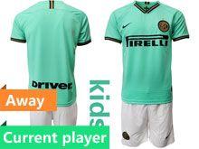Kids 19-20 Soccer Inter Milan Club Current Player Green Stripe Away Short Sleeve Suit Jersey