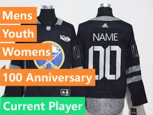 Mens Adidas Buffalo Sabres Current Player Black 100 Anniversary Adidas Jersey