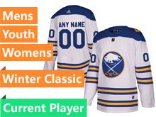 Mens Adidas Buffalo Sabres 2018 Winter Classic White Current Player Jersey