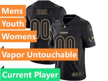 Mens Women Youth Nfl San Francisco 49ers Current Player  Black Gold Vapor Untouchable Limited Jersey