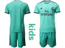 Youth 19-20 Soccer Real Madrid Club ( Custom Made ) Green Second Away Short Sleeve Suit Jersey
