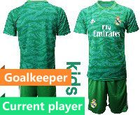 Youth 19-20 Soccer Real Madrid Club Current Player Green Goalkeeper Short Sleeve Suit Jersey