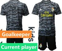 Youth 19-20 Soccer Real Madrid Club Current Player Black Goalkeeper Short Sleeve Suit Jersey