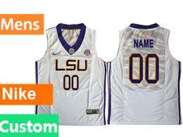 Mens Ncaa Nba Lsu Tigers Custom Made White Basketball Nike Elite Jersey