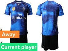 Mens 19-20 Soccer Real Madrid Club Current Player Blue Away Short Sleeve Suit Jersey
