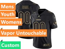 Mens Women Youth Nfl San Francisco 49ers Custom Made Black Gold Vapor Untouchable Limited Jersey