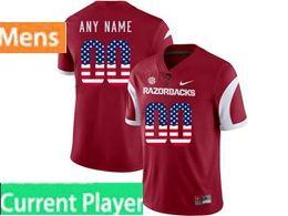 Mens Nike Ncaa Arkansas Razorbacks Current Player Red Printed Usa Flag Vapor Untouchable Limited Jersey