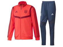 Mens 19-20 Soccer Bayern Munchen Club Orange Jacket And Blue Sweat Pants Training Suit ( Long Zipper )