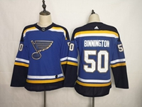 Women Youth Nhl St.louis Blues #50 Jordan Binnington Blue Adidas Jersey