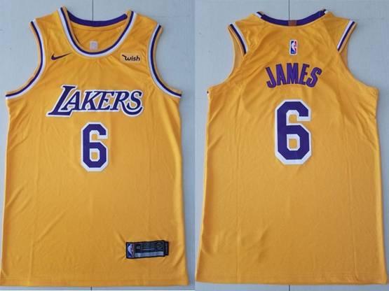 Mens 2019 New Nba Los Angeles Lakers #6 James Yellow City Edition Swingman Nike Jersey