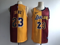 Mens Nba Los Angeles Lakers #23 Lebron James Nike Split Yellow&red Jersey