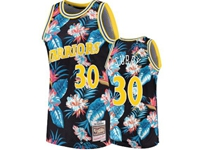 Mens Nba Golden State Warriors #30 Stephen Curry Mitchell & Ness Floral Fashion Mesh Jersey