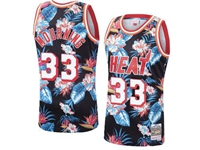 Mens Nba Miami Heat #33 Alonzo Mourning Mitchell & Ness Floral Fashion Mesh Jersey
