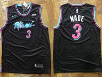Mens 2018-19 Nba Miami Heat #3 Dwyane Wade Black Nike City Edition Jersey