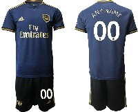 Mens 19-20 Soccer Arsenal Club ( Custom Made ) Navy Blue Away Short Sleeve Suit Jersey