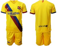 Mens 19-20 Soccer Barcelona Club ( Blank ) Yellow Away Short Sleeve Suit Jersey