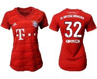 Women 19-20 Soccer Bayern Munchen #32 Kimmich Red Home Short Sleeve Suit Jersey