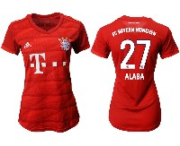 Women 19-20 Soccer Bayern Munchen #27 Alaba Red Home Short Sleeve Suit Jersey