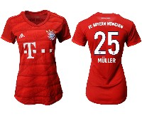 Women 19-20 Soccer Bayern Munchen #25 Muller Red Home Short Sleeve Suit Jersey