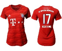 Women 19-20 Soccer Bayern Munchen #17 Boateng Red Home Short Sleeve Suit Jersey