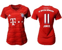 Women 19-20 Soccer Bayern Munchen #11 James Red Home Short Sleeve Suit Jersey