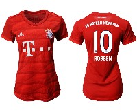 Women 19-20 Soccer Bayern Munchen #10 Robben Red Home Short Sleeve Suit Jersey