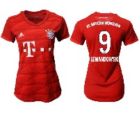 Women 19-20 Soccer Bayern Munchen #9 Lewandowski Red Home Short Sleeve Suit Jersey