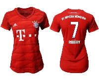 Women 19-20 Soccer Bayern Munchen #7 Ribery Red Home Short Sleeve Suit Jersey
