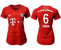 Women 19-20 Soccer Bayern Munchen #6 Thiago Red Home Short Sleeve Suit Jersey