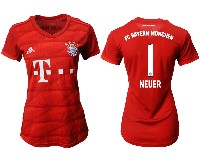 Women 19-20 Soccer Bayern Munchen #1 Neuer Red Home Short Sleeve Suit Jersey