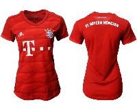 Women 19-20 Soccer Bayern Munchen ( Blank ) Red Home Short Sleeve Suit Jersey