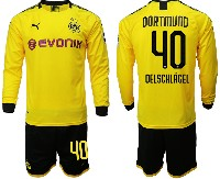 Mens 19-20 Soccer Borussia Dortmund Club #40 Oelschlagel Yellow Home Long Sleeve Suit Jersey